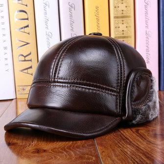 853f00ad Winter Vintage Cowhide Genuine Leather Earmuffs Hat Warm Fleece Liner Cap  Mature Mens Cap