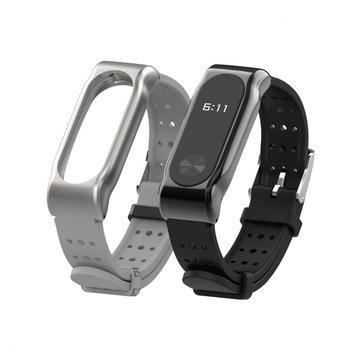 Mijobs Silikone Håndledsrem med Metal Ramme Armbånd Udskiftning Watchband til Xiaomi Miband 2