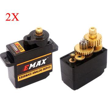 2X EMAX ES08MA II 12g Mini Ingranaggio me<x>tallico Servocomando Analogico per Modello RC
