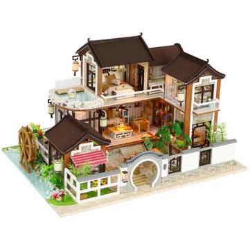DIY Dollhouse Miniature Doll House Furniture Kit LED Kids Cat Birthday Xmas Gift House