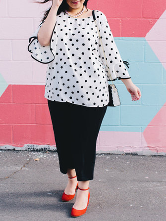 Plus Size Polka Dot O-Neck Flare Sleeve Loose Blouse