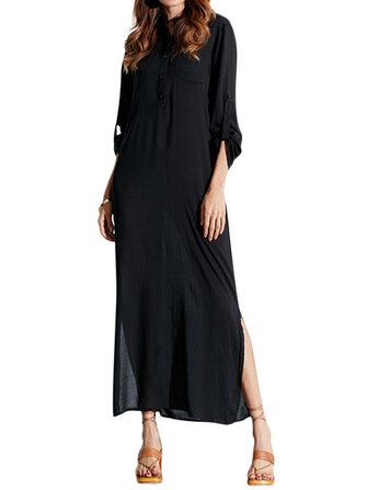 Wanita Warna Murni Baju Lengan Panjang Baju Panjang