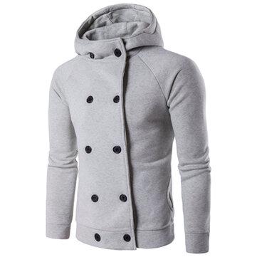 फैशन व्यक्तित्व पुरुषों हूडेड स्वेटर अवकाश डबल ब्रेस्टेड लंबी आस्तीन हुडीज