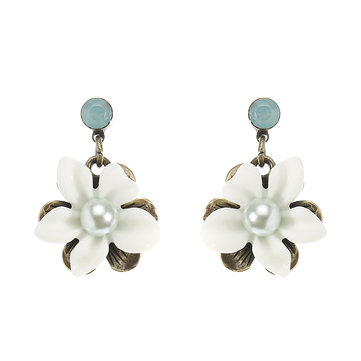 JASSY® Retro Pearl Antique Bronze Ear Drop White Gemstone Flower Earrings Best Gift for Women