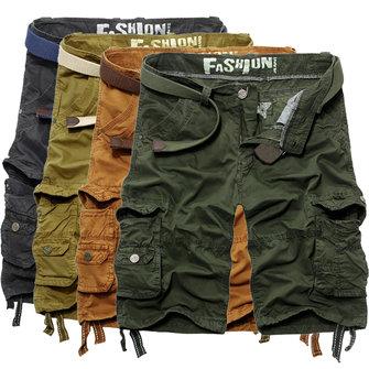 मेनस-क्लासिक आरामदायकुअल कपास मल्टी पॉकेट कार्गो शॉर्ट्स पैंट