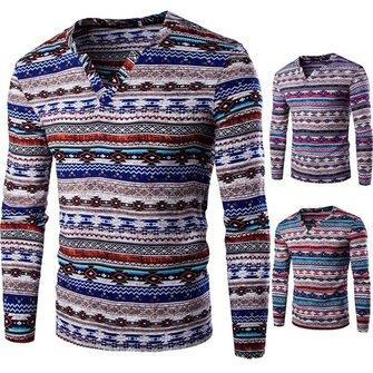 राष्ट्रीय शैली सार धारीदार प्रिंट टी-शर्ट पुरुषों की आकस्मिक वि गर्दन लंबी आस्तीन टी शर्ट