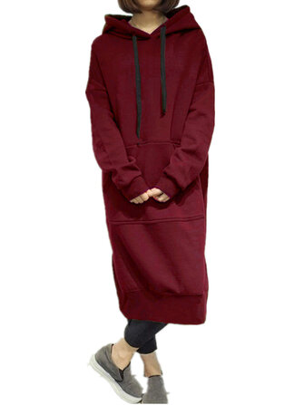 Sweatshirt Dress Casual Women Solid Color Long Sleeve Pocket Hoodie 7 Colors