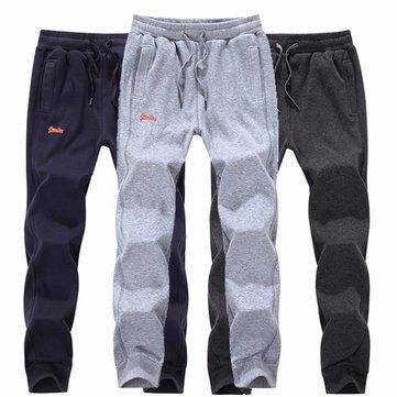 शरद ऋतु शीतकालीन पुरुषों प्लस मखमली गर्म कपास पतलून आरामदायक खेल पसीना जॉगर पैंट 4 रंग