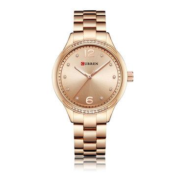 CURREN 9003 Crystal Casual Style Women Wrist Watch Stainless Steel Quartz Watches