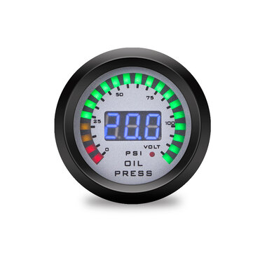 52mm Car Oil Pressure Gauge 7 Color LED Dual Display Boost Meter