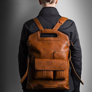 Ekphero Men Handbag Casual Multifunction Backpack Solid Crossbody Bag