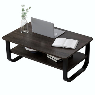 Double Layers Coffee Table Modern Simple Creative Laptop Desk Small Square Table Writing Study Table Bookshelf Storage Rack