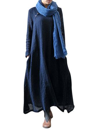 एम -5 एक्सएल विंटेज शुद्ध रंग लंबी आस्तीन ओ-गर्दन मैक्सी पोशाक