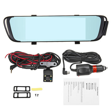 7'' HD 1296P Dual Lens Video Recorder Rearview Mirror Car Dash Cam Camera DVR