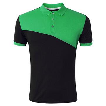 पुरुषों आरामदायक आरामदायक लापरवाह सिलाई गोल्फ शर्ट ग्रीष्मकालीन फैशन रंग ब्लॉक लघु आस्तीन खेल