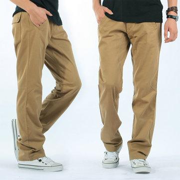 पुरुषों आरामदायक लूज ठोस रंग कपास कार्गो पैंट आउटडोर काम आरामदायक आरामदायक पैंट