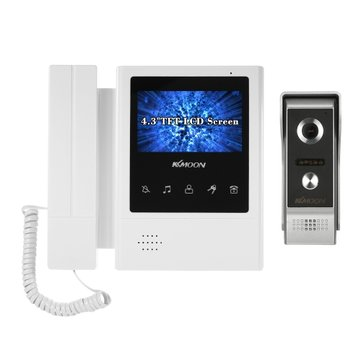 4.3 Inch LCD Monitor Wired Video Intercom Doorbell Kits Support Night Vision Camera Two Way Audio Rainproof Video Door Phone Intercom System