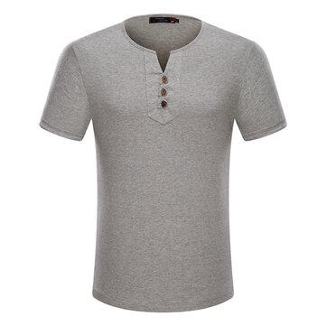 प्लस आकार एस -6 एक्सएल लूज कपास ठोस रंग पुरुष आरामदायक ग्रीष्मकालीन टी शर्ट