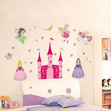 Children Kids Princess Girl Waterproof Removable Sweet Fairy Castle Wall  Stickers Decal Bedroom DIY Decoration