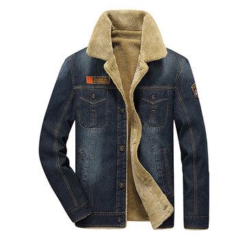 Áo khoác nam denim dày xuống cổ áo đa túi thời trang mùa đông