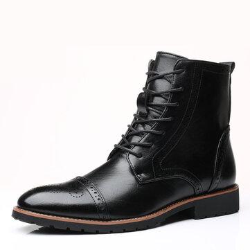 Men Brogue Classic Cowboy Lace Up Mid-calf Boots