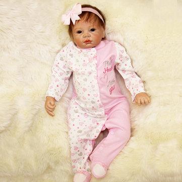 22inch Reborn Baby Girl Doll Silicone Handmade Girl Lifelike Play House Toy