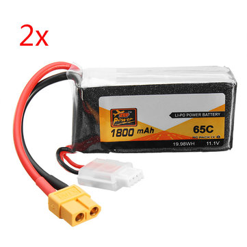 2 PCS ZOP Power 11.1V 1800mAh 65C 3S Lipo Battery XT60 Plug