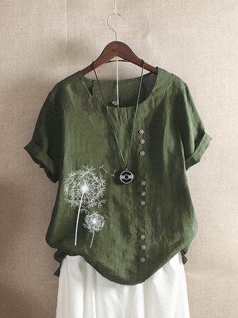 M-5XL Vintage Short Sleeve O-neck Floral Print Button T-Shirts