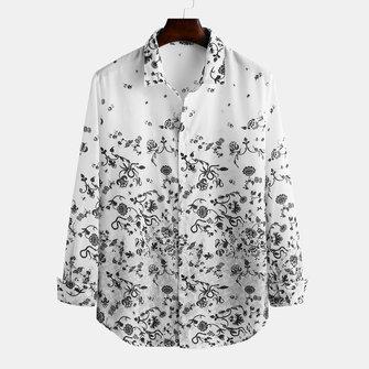 Mens Fashion Autumn Floral Printed Long Sleeve Casual Shirts