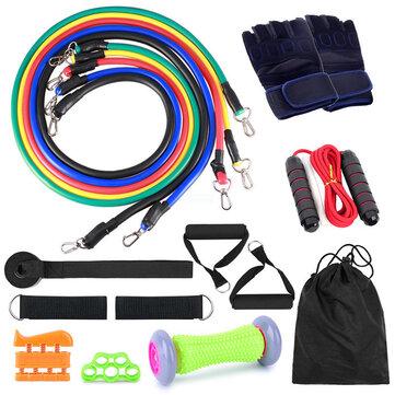 16 Pcs Resistance Bands Set 5 Exercise Bands Jump Rope Grip Strength Hand Legs Straps Gloves Foot Massage Roll Muscle Massager Fitness