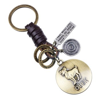 Buy Retro Twelve constellation Woven Keychain Soft Leather Cord Keychain For Men with Litecoins with Free Shipping on Gipsybee.com