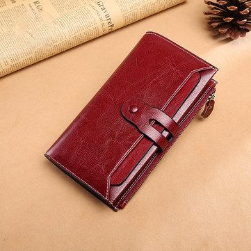 Women Vintage Genuine Leather Multi-function Long Wallet 17 Card Slots Card Holder Phone Bag