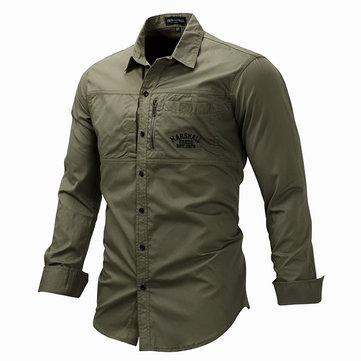 Outdoor Military Style Chest Zipper Pocket Long Sleeve Lapel Cotton Work Shirt for Men