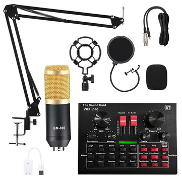 BM800 Condenser Microphone Kit Pro Audio Studio Sound Recording Microphone with V8X PRO Muti_functional Bluetooth Sound Card
