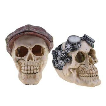 Halloween Stylish Skull Decor Horror Novelty Toy Human Prop Resin Skull Head Ornament DIY Party Decorations