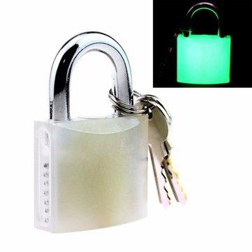 Acrylic Luminous Locksmith Lock Låsverktyg Hänglås - Fluorescerande Vit Grow-in-The Dark Lock Plocka träningshänglås w / nycklar
