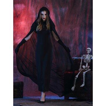 ब्लैक डेविल पिशाच कॉस्प्ले कॉस्टयूम महिला हेलोवीन क्लोक ड्रेस कपड़े