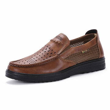Comfy Men Microfiber Leather Breathable Hollow Outs Slip On Mesh Oxfords Shoes