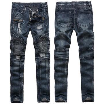 पुरुषों फैशन बाकर विंटेज मोड़ फिसल गया जीन्स होल सीधे पैर सिलाई डेनिम पैंट