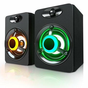 SADA V-188 Colorful LED Light 2.0 Computer Speaker Bass Stereo Dual Speakers for Phone PC Laptop