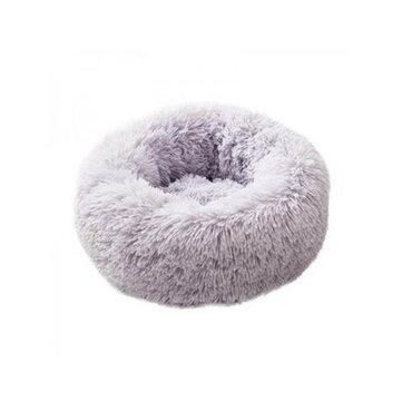 Pet Beds Dog Cat Calming Warm Soft Plush Cute Round Nest Comfortable Sleeping  Dark Grey 60cm Coupon Code and price! - $23