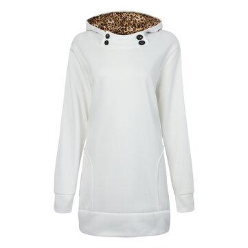 आकस्मिक महिला तेंदुए हुडेड लंबी आस्तीन स्वेटरशॉट