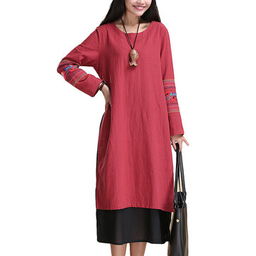 लोक शैली महिला नकली दो टुकड़ा पैचवर्क कढ़ाई कपास लिनन पोशाक