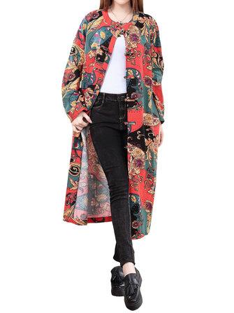 विंटेज महिला चीनी मेंढक पैटर्न मुद्रित ट्रेंच कोट जैकेट
