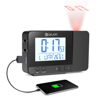 Digoo DG-C10 LCD Wireless USB Rechargeable Backlight Projection Clock Temperature Humidity Display Desk Clock for Phone Pad Speaker