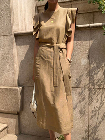 Women Sleeveless Crew Neck Belted Casual Maxi Dress for sale in Bitcoin, Litecoin, Ethereum, Bitcoin Cash with the best price and Free Shipping on Gipsybee.com