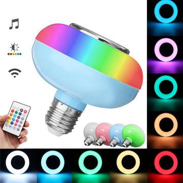 E27 12W RGB LED Light Bulb Lamp bluetooth Remote Control Music Speaker Play AC85-265V