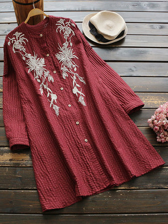 Retro Women Cotton Linen Embroidered Stand Collar Long Sleeve Long Shirts