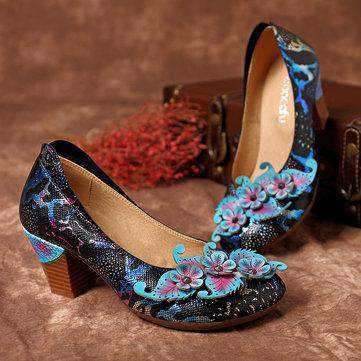 SOCOFY Женское Туфли на высоком каблуке Натуральная Кожа Обувь ручной работы с принтом змеи