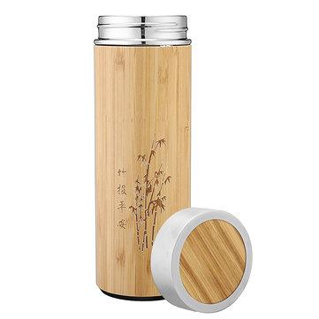 450ml dobbelt væg rustfrit stål vand kop bambus mønster te infuser termos flaske flaske
